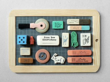 assorted new and vintage erasers- love these!