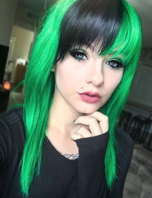 31 Glamorous Green Hairstyle Ideas 2020 Update Hair Styles Black And Green Hair Ombre Hair Color
