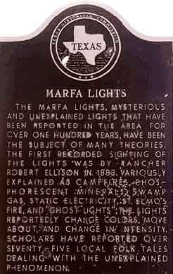 The Marfa lights, also known as the Marfa ghost lights, have been observed near U.S. Route 67 on Mitchell Flat east of Marfa, Texas.