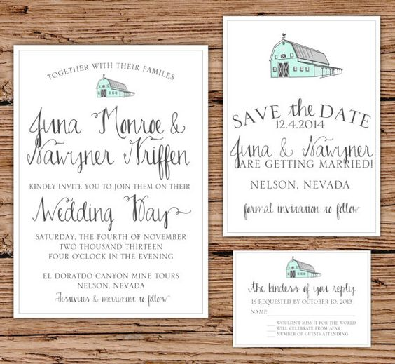 Rustic Wedding Invitation Fonts: Rustic Barn Wedding Invitation Vintage By