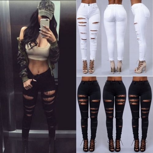 Women Ripped FIT High Waisted Skinny Denim Pants Jeans Trousers Leggings Stretch