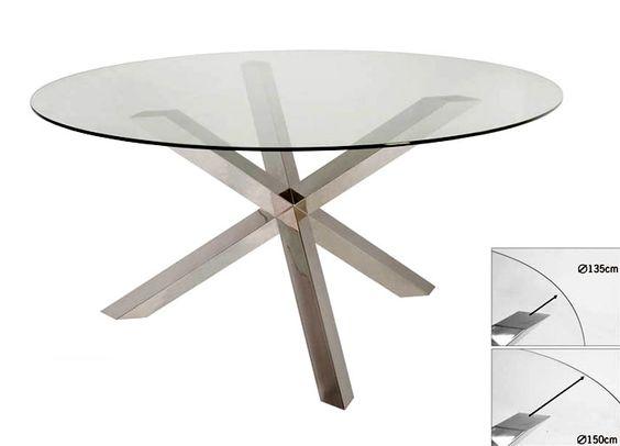 Mesa de comedor redonda moderna merrian material acero - Mesa comedor cristal redonda ...