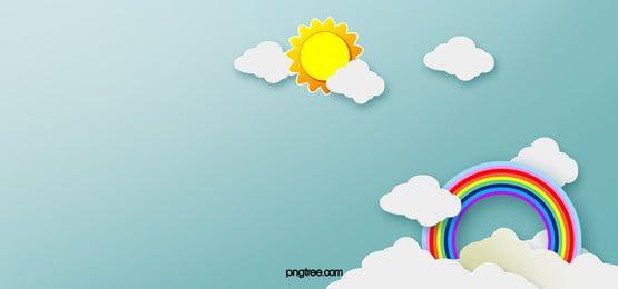 Rainbow Clouds Background Banner Cartoon Sun Plano De Fundo De Desenhos Animados Imagens De Fundo Cartoon Cartoon