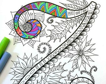 Letter V Zentangle Inspired by the font Harrington por DJPenscript