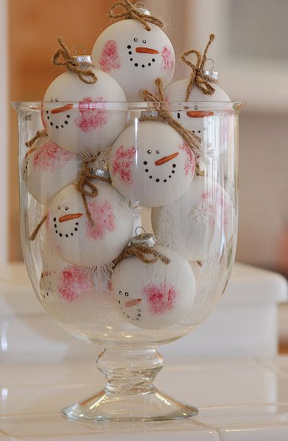 ornament snowmen {with thumbprint cheeks?}  Great idea for class project for parents.