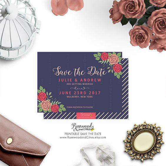 Printable Save the Date Card, Floral Save the Date, Save the Date Printable, Roses Save the Date, Floral Wedding Printable, Botanical by RosewoodandCitrus on Etsy