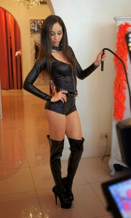 beautiful women in leather and thigh high plateau boots from