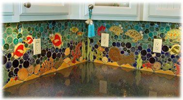 ceramic tile tropical kitchen backsplash, coral reef ceramic tile kitch back splash