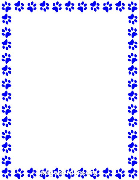 Printable blue paw print border Use the border in Microsoft Word – Creating an Invitation in Word