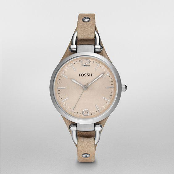 Fossil Georgia Leather Watch – Sand  $75