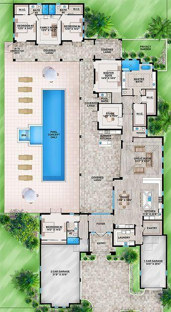 House Plan 207 00034 Contemporary Plan 4 486 Square Feet 4 Bedrooms 4 5 Bathrooms Florida House Plans Dream House Plans House Plans
