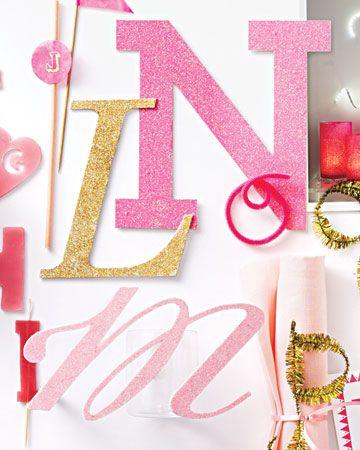 Diy glitter script letters