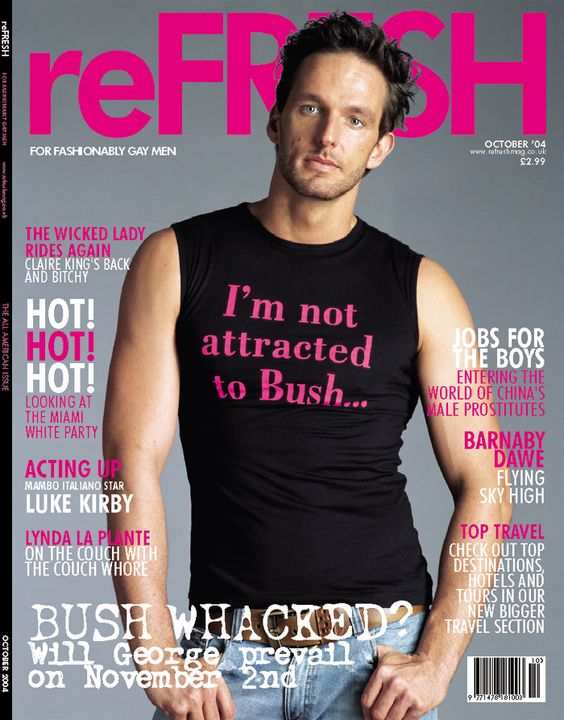 Issue 24 is a more signature edition! Quite literally as we used the cover to make a specific comment on the forthcoming USA presidential elections and had the t-shirt printed especially. It's nicely modelled by Lasse Hansen and was shot by Nick Wright. Features inside the magazine included interviews with soap legend Claire King and emerging actor Luke Kirby who was just about to appear in the film, Mambo Italiano.
