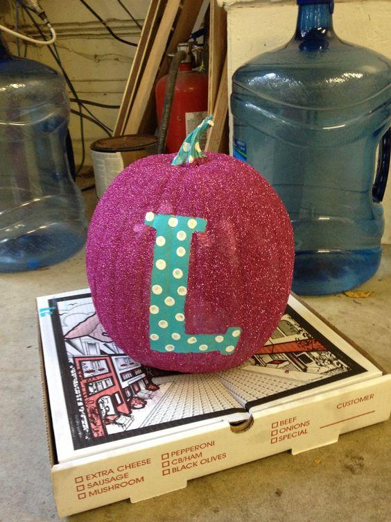 Monogrammed Glitter Pumpkin