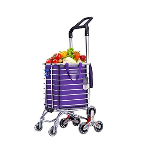 Vvlo Folding Portable Household Cart Trolley Stainless Steel Triangle Wheel Foldable Does Not Take Up Space Household Stainless Portable