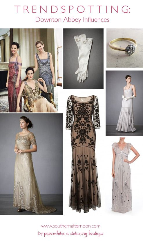Both Temperly London and BHLDN are featuring designs that look like they would be comfortable in Downton Abbey's sitting room.  From opera gloves to graceful gowns.