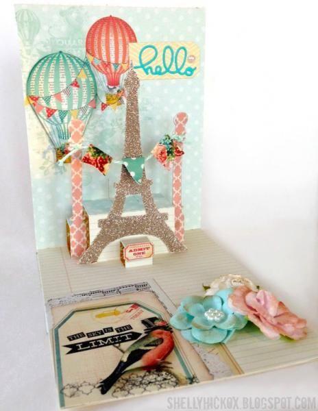 Glittery Eiffel Tower Pop it Ups Card