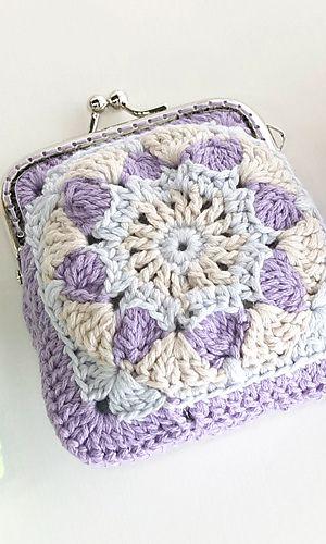 Motif Pouch By Pierrot (Gosyo Co., Ltd) - Free Crochet Diagram - See http://gosyo.co.jp/english/pattern/eHTML/ePDF/1409/351pouch_Motif_Pouch.pdf For PDF Pattern - (ravelry)