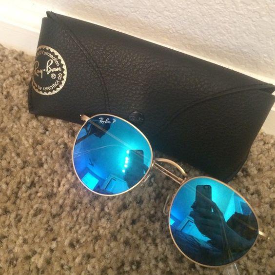 mirrored circle sunglasses  Rayban blue mirrored circle sunglasses