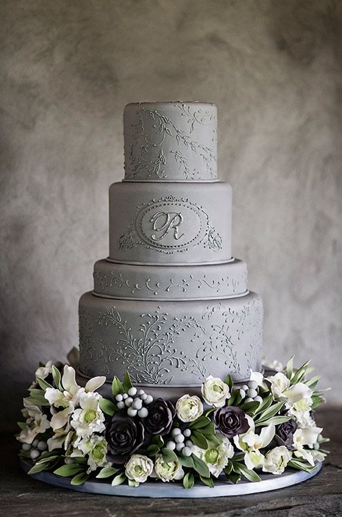 gray wedding cake designs wedding cake with flowers and grey on 14904
