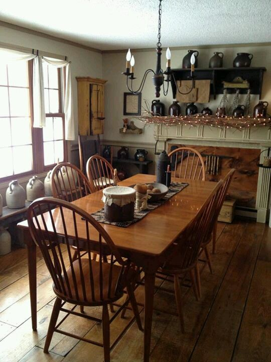 Cozy dining rooms casual dining rooms and windsor chairs for Primitive country dining room ideas