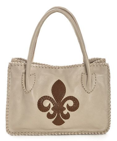 Another great find on #zulily! Off-White Fleur-de-Lis Leather Tote by Carla Mancini #zulilyfinds
