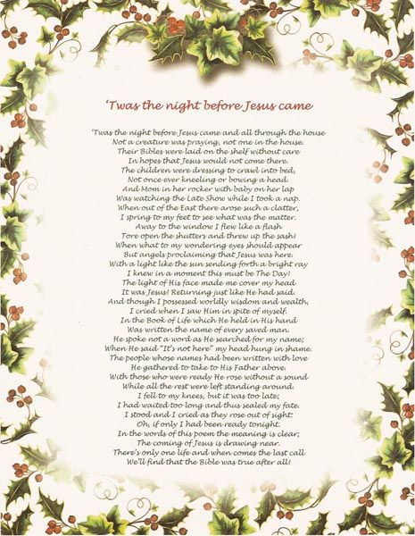 Unforgettable image with twas the night before jesus came printable