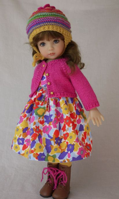 """Fall is Colored Brightly"", a 6-pce. ensemble for Dianna Effner's Little Darling dolls. Set includes a hand knit wool cardigan, wool striped hat, dress, tights, belt, and tights. cindyricedesigns.com"