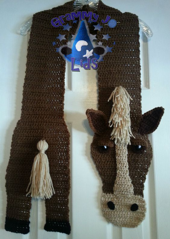 Free Crochet Patterns For Animal Scarves : Horsin Around scarf pattern by JoAnne Grimm Thompson A ...