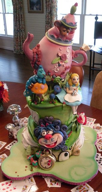 Alice in Wonderland Cake: Creative Cake, Fancy Cake, Amazing Cake, Beautiful Cake, Disney Cake, Awesome Cake, Birthday Cake, Mad Hatter