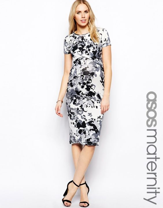 Graphic Floral Print Maternity Dress from @ASOS.com
