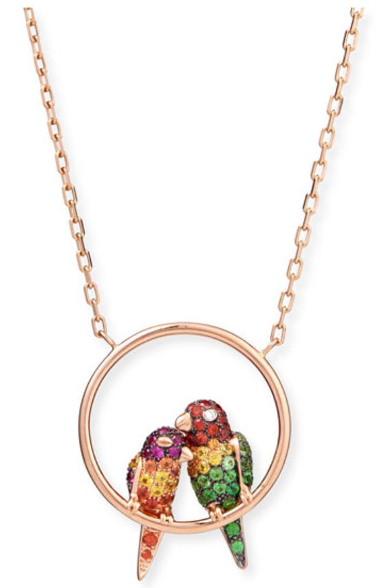 Cockatoo Love Birds Pendant Necklace in Rose Gold and Multi-Color Stone