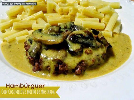 Hambúrguer com cogumelos e molho de mostarda