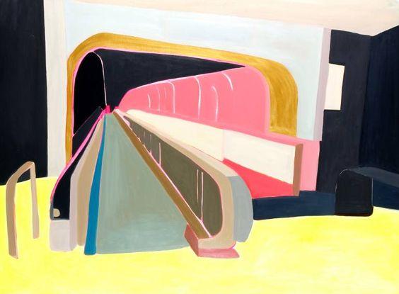 Les differents niveaux de passe Luciana Levinton. Abstract painting based in Charles de Gaulle airport terminal, Paris.