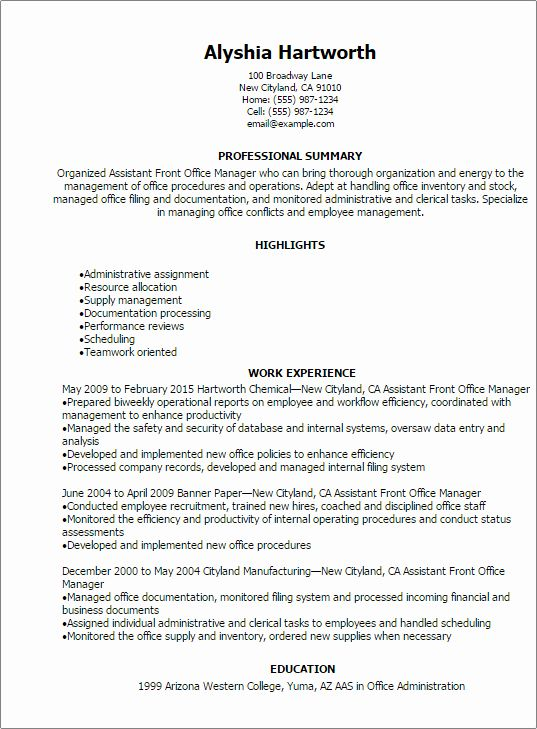 Office Administrator Resume Examples Fresh 1 Assistant Front Fice Manager Resume Templates Try Th Office Manager Resume Medical Assistant Resume Manager Resume
