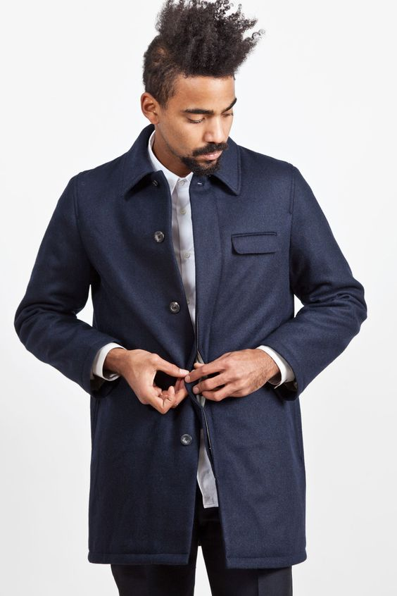 A.P.C. - Wool Mac Coat Navy - TRÈS BIEN | stil | Pinterest | Coats