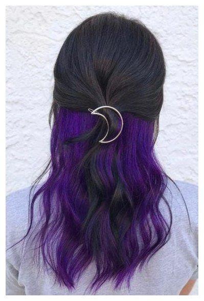 20 Pretty Peekaboo Highlights You Need To See Now Purple Hair Underneath Peekaboo Highlights In 2020 Purple Brown Hair Hair Color Underneath Purple Underneath Hair