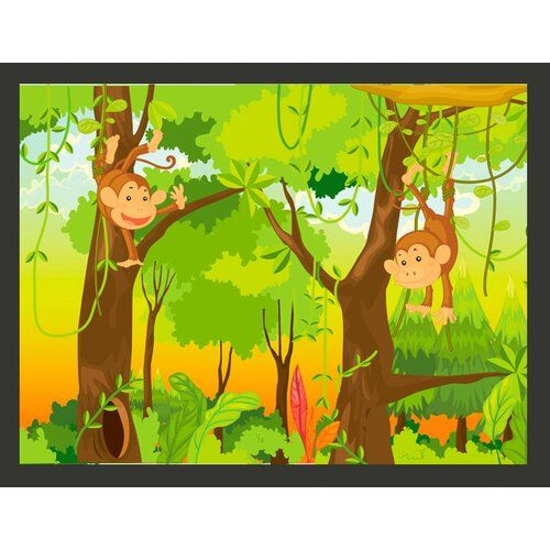 Monkeys In The Jungle 1 93m X 250cm Wallpaper East Urban Home Jungle Wallpaper 3d Wallpaper Mural Mural Wallpaper