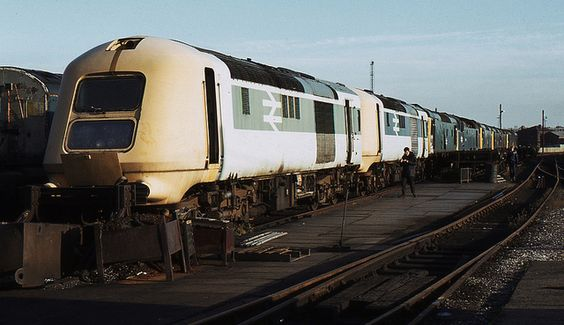 Prototype HST power cars at  Derby Works, 29th October 1983