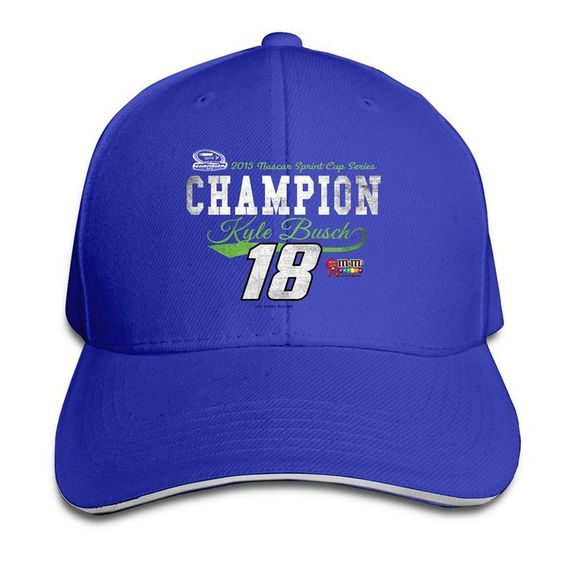 BOoottty Kyle Busch 2015 Sprint Cup Champion Vintage Swoop Flex Baseball Cap RoyalBlue