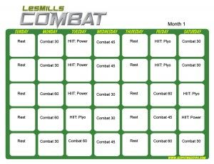 Les Mills Combat Month 1-Great workout for core training.  Perfect for any fitness level.