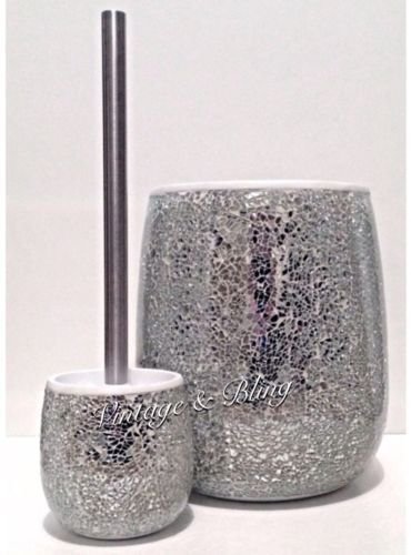 Silver crackle mirror glass bathroom sparkle glitter bin for Silver crackle bathroom accessories
