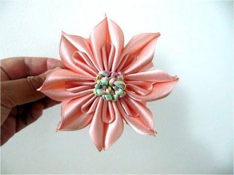 ▶ Moños para el cabello flor ocho pétalos en cintas con dobleces - YouTube
