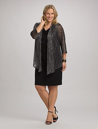 Plus Size Metallic Jacket Dress Dressbarn Another Good Find At Barn This One Piece With Attached Creates Both A Flattering Fro