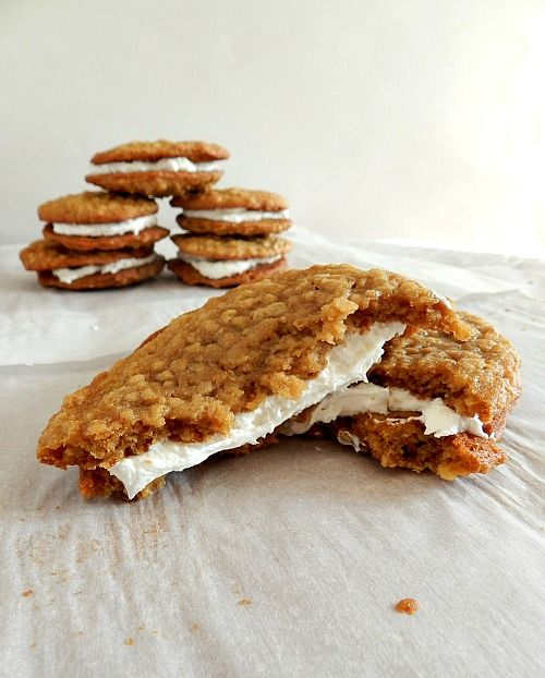 Homemade oatmeal cream pies!!    I ate these all the time as a kid. My poor kids never get these kinds of snacks. I'll definitely have to make some, less all the processed stuff.