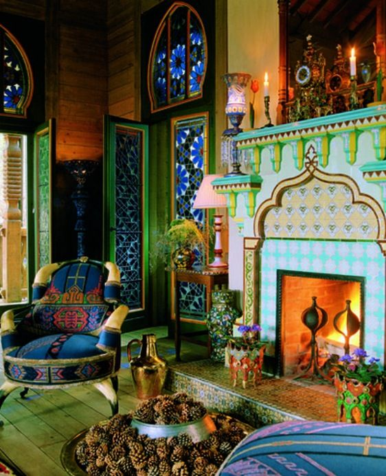 Moroccan Interior Mosaic Tiling On The Distinct Shaping Of Fire Place Bright Colours Green And Blue Are Representative Mediterranean Sea