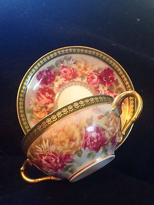 Hand painted Jean Pouyat Limoges cup and saucer