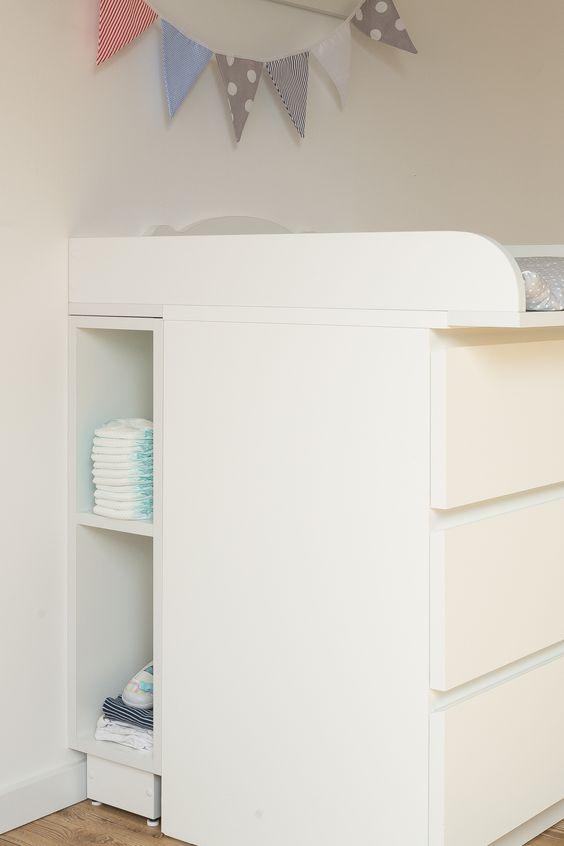 KraftKids Stauraumregal für Wickeltisch weiß passend für MALM Kommoden