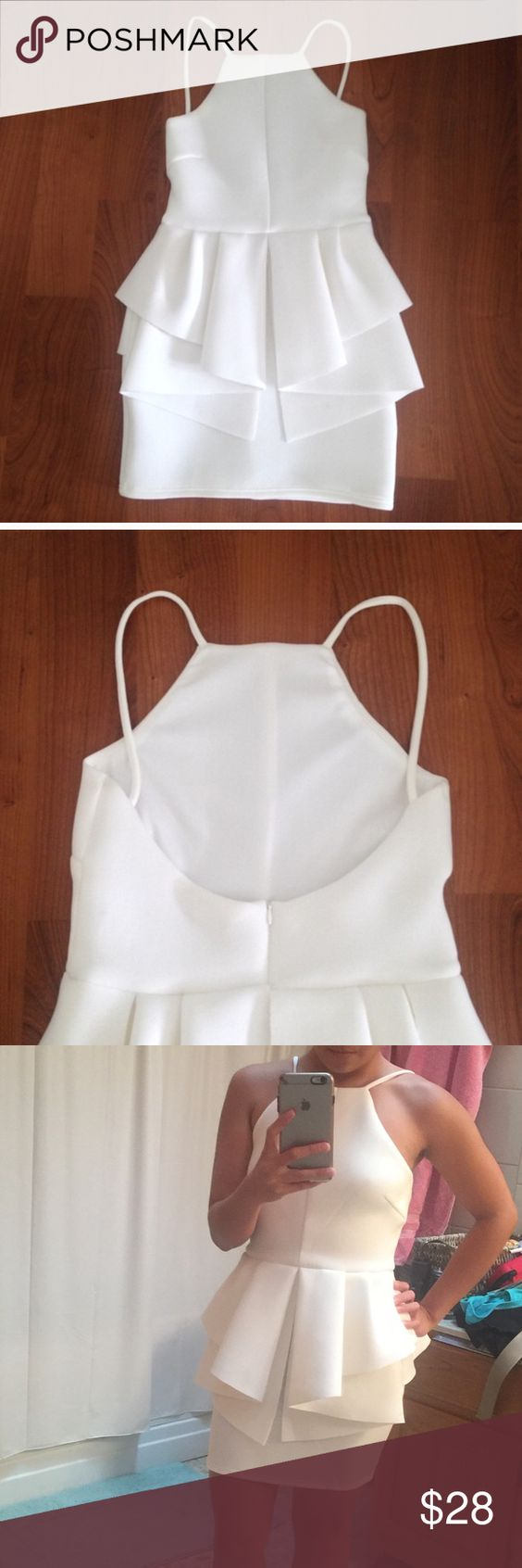 White peplum dress Bought from another posher but does not fit me. A small stain on the fourth pic. Tobi Dresses