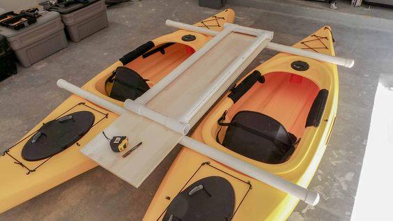 Build a catamaran with two kayaks.